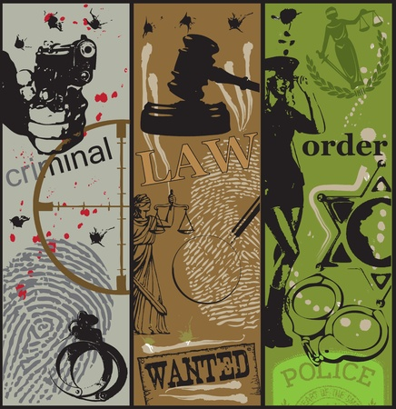 Poster on the theme of crime, law and order using the appropriate symbols.