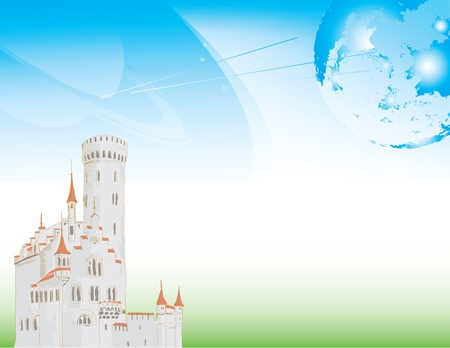 Futuristic background with planets and ancient castle. Illustration