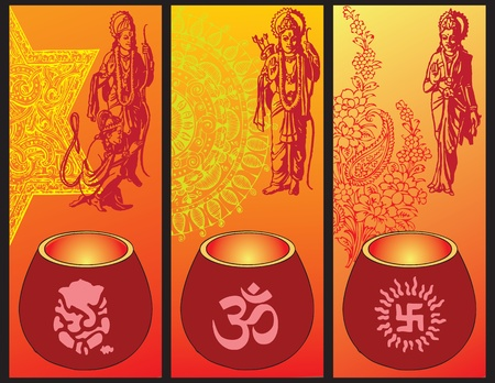 Illustration on Diwali with lamps and symbols of culture and religion of India.
