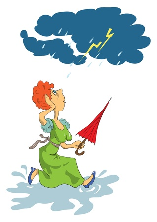 cartoon umbrella: A woman runs through the puddles with an umbrella in hand, storm, cartoon.