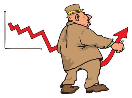 Figure businessman bending the arrow on the diagram in the direction of recovery.