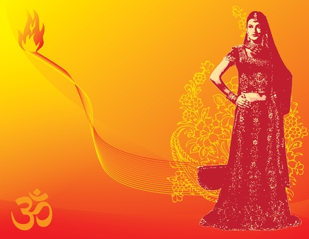 Illustration for the holiday Diwali with a woman in a sari. Vector