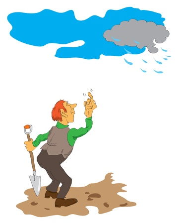 The illustration on the theme of agriculture. On dry land stands a man with a shovel and expect rain cloud.