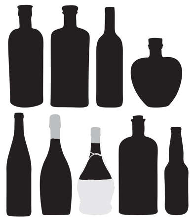 Bottles for bottling of alcoholic beverages. Vector illustration. Vector