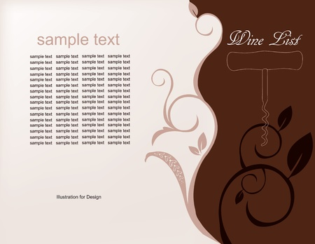 Illustrated background for the menu of wines in brown tones. Vector illustration.wine list,