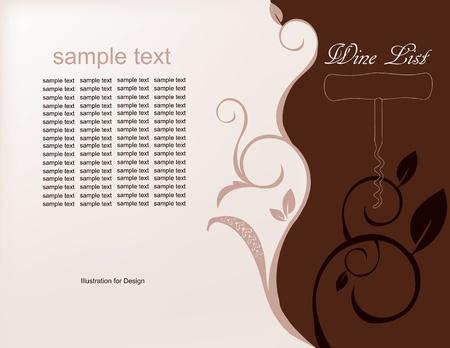 Geïllustreerde achtergrond voor het menu van wijnen in bruine tinten. Vector illustration.wine lijst,
