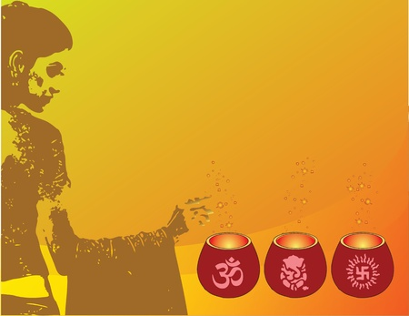 Illustration on Diwali with lamps and symbols of culture and religion of India. Woman holiday candles