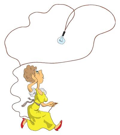 Creativiteit op een vrouw maakt een beslissing om de lamp aan te sluiten. Cartoon.