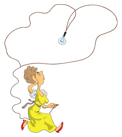 Creativity on a woman makes a decision to connect the bulb. Cartoon.