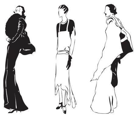 Vector illustration of woman in an evening of stylish outfits. Vector