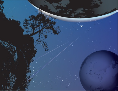 Fantastic vector illustration with planets and stars. 向量圖像
