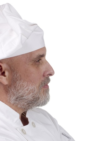 Portrait of a chef looking right on white. Stock Photo - 11155626