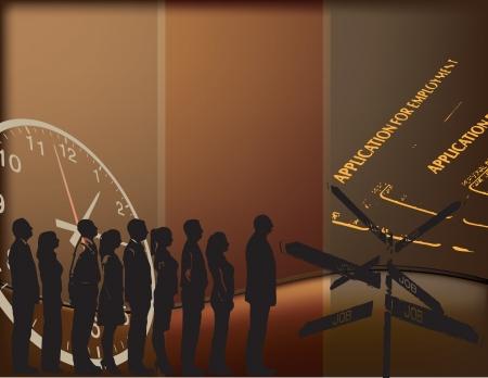 Vector illustratie op het thema van de werkgelegenheid, met mensen in de rij staan en tekens.