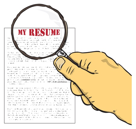Vector illustration. The concept on a resume. Hand with magnifying glass. Stock Vector - 11252841