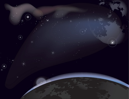 turbidity: Vector illustration of a starry sky with the planets and nebulae.