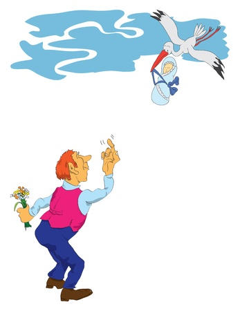 Cheerful picture on the child's birth. A man with a bouquet and a stork with a baby. Vector