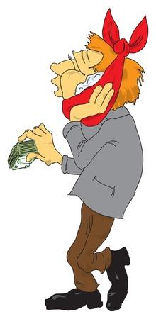 dolor de muelas: Ilustraci�n vectorial de un paciente con el dinero para el dentista.