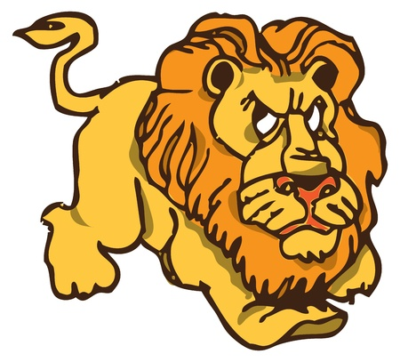 Vector illustration of the evil lion in the style of cartoon. Stock Vector - 11252858