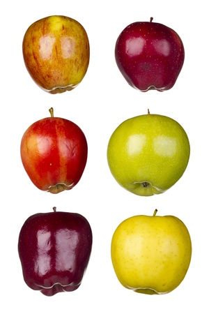 Set of six different apples isolated on a white background. photo