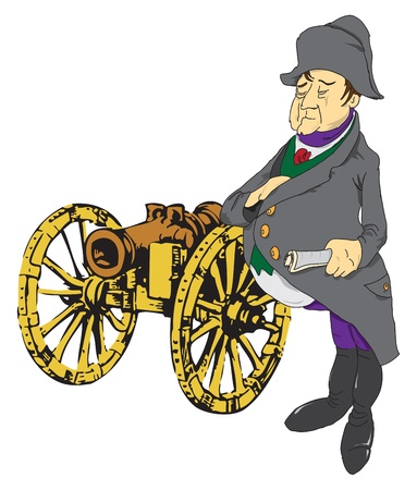 Vector illustration of the emperor near the old gun.