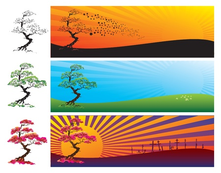 paysage: Three versions of the landscape with a tree.  Illustration
