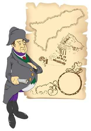 The Emperor on a map of the circuit elements from the battle.  Stock Vector - 11411691