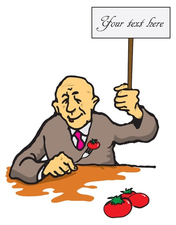 A man with a tomato on a fork and plate in hand. Ilustração