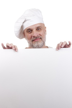 Portrait of a chef holding a blank sign for your text. Stock Photo - 11411710