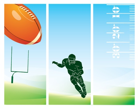 american football background: Background to the football field with the use of markup, figures player, ball, gate and color. Yektornaya illustration.