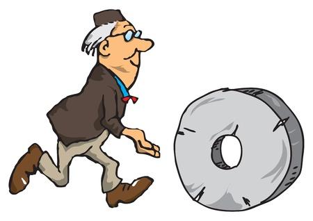 Ученый с колесом, тема изобретений и инноваций. Иллюстрация