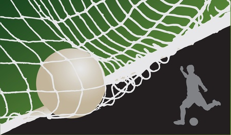 Voetbal achtergrond met de bal aan de poort en de plaats om foto's of tekst te plaatsen. Stock Illustratie