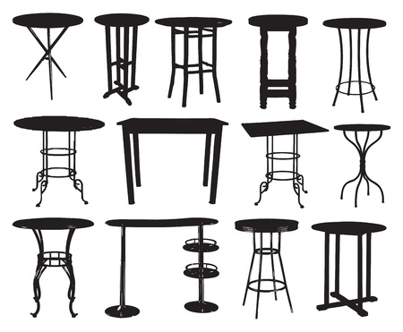A set of bar tables. Vector illustration. Vector