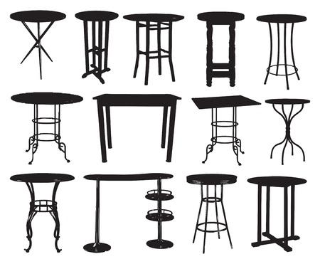 furniture: A set of bar tables. Vector illustration.