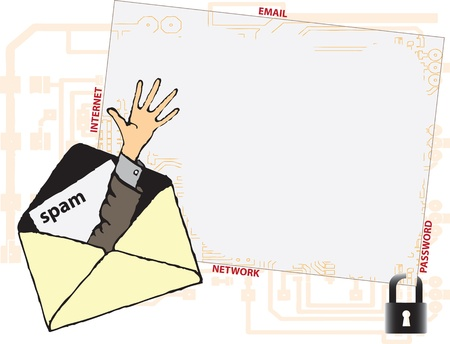 Vector illustration. The danger of spam on computer networks. Stock Vector - 11655728