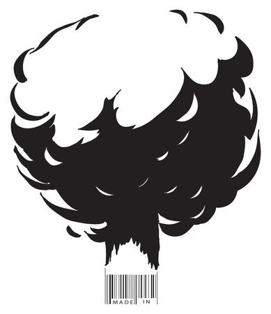 atomique: L'explosion et le texte de code � barres fait dans ... Vector illustration.