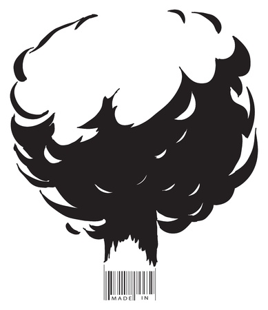 explosion risk: The explosion and the bar code text made in ... Vector illustration.