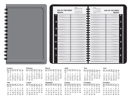 planner: Planner of a calendar grid for 2012 indoor and outdoor. Vector illustration.