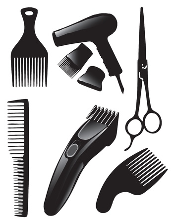 hair dryer: A set of tools for hairdressers. Vector illustration.