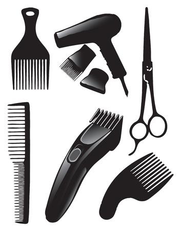 peineta: Un conjunto de herramientas para peluquería. Ilustración vectorial. Vectores
