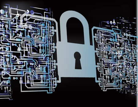 lock up: The electronic security of computer networks. Vector illustration. Illustration