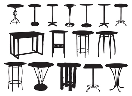 A set of bar tables. Vector illustration.
