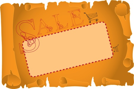 Card for sale on an old scroll. Vector illustration Vettoriali