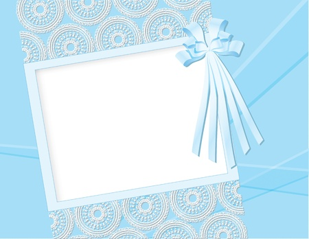 Greeting card with lace and bow. Vector illustration.