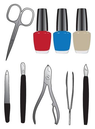 A set of tools and nail polish. Vector illustration.