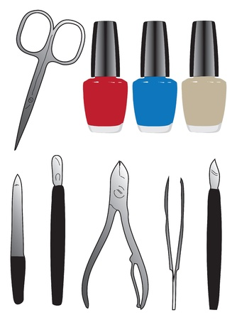 tweezers: A set of tools and nail polish. Vector illustration.