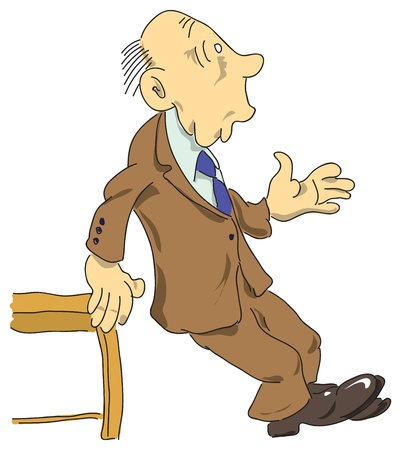 old people: Surprised man not to fall based on the table. Vector illustration.