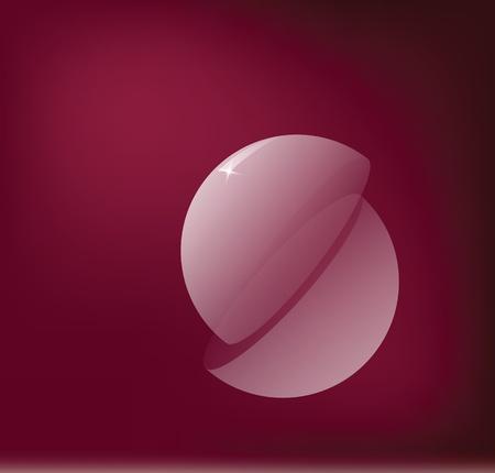 Hollow sphere is divided into two halves. Vector illustration. Ilustração