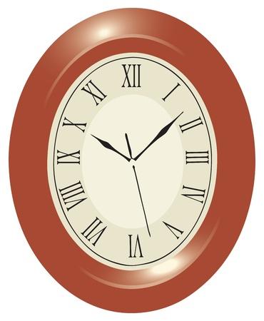 Oval wall clock in a wooden case with Roman numerals. Vector illyustrptsiya. Vector