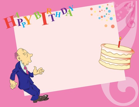 Surprised man in the background for the birthday greetings on the cake looks. Vector background.