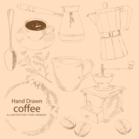 Onder voorbehoud van koffie wordt met de hand, kopje koffie, kofevrkoy, koffie zrnami, een tak van de koffieboom, met de hand molen, een lepel, de Turken prigtovleniya drinken.